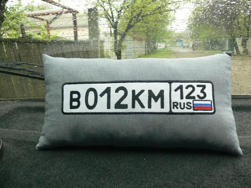 подушка с номером и фотографиями машины заказать