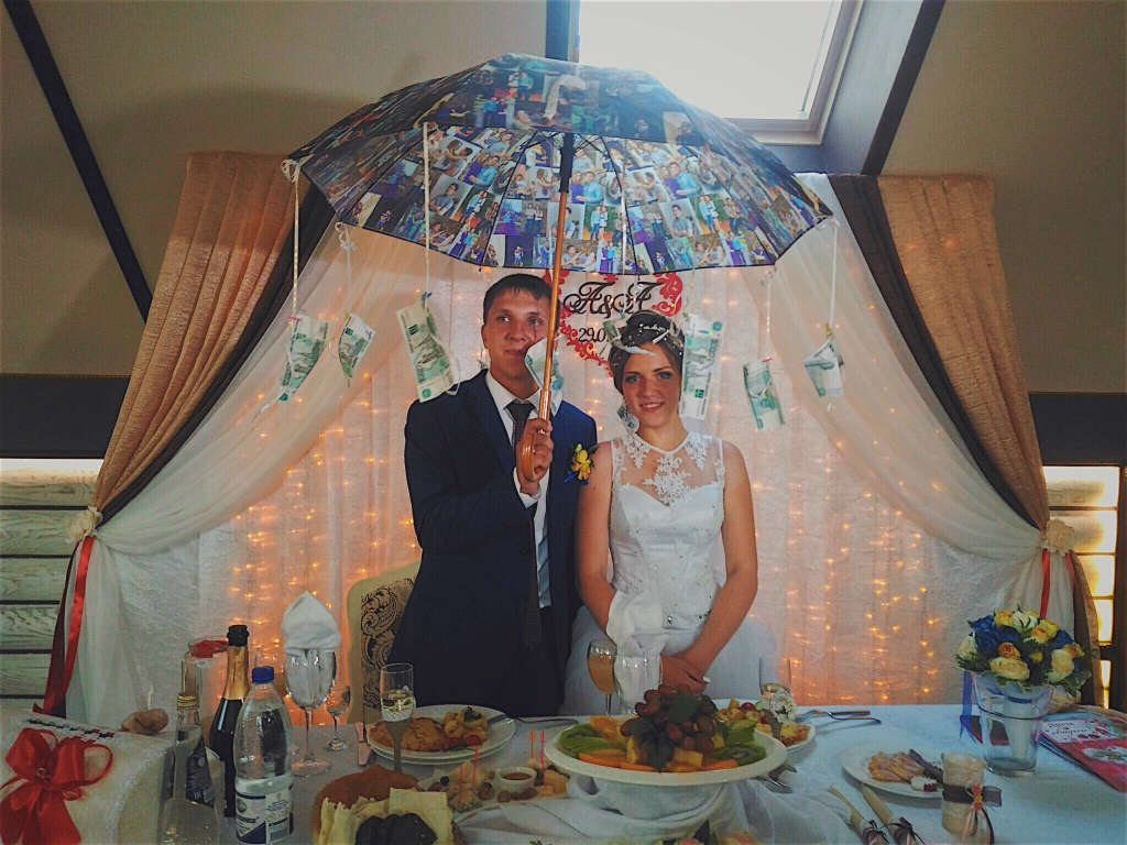 поздравление на свадьбу с помощью зонта компании постоянно работают
