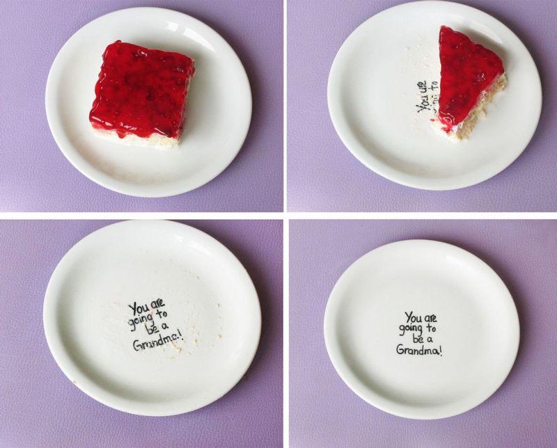 Тарелка с надписью о будущем малыше
