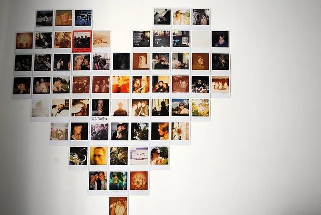 Сердце из 63 фото на стене