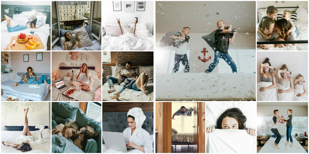 Сделать красивое фото на кровати