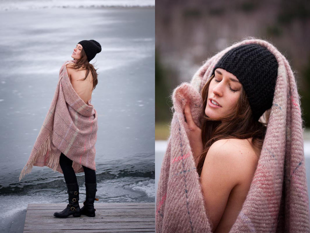 Зимние фото с пледом