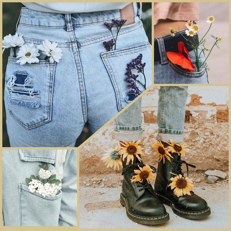 Как красиво сфоткать цветы в кармане одежды и обуви