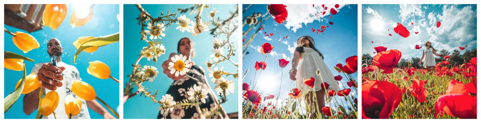 интересный ракурс для портрета с цветами