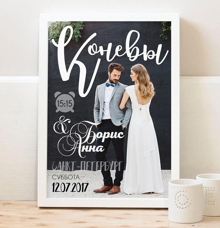 Большой постер со свадебной метрикой
