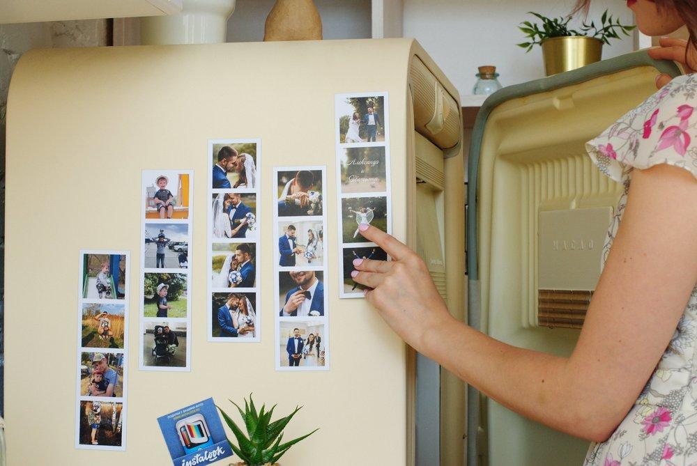 Свадебные магнитные полоски с фото и инициалами