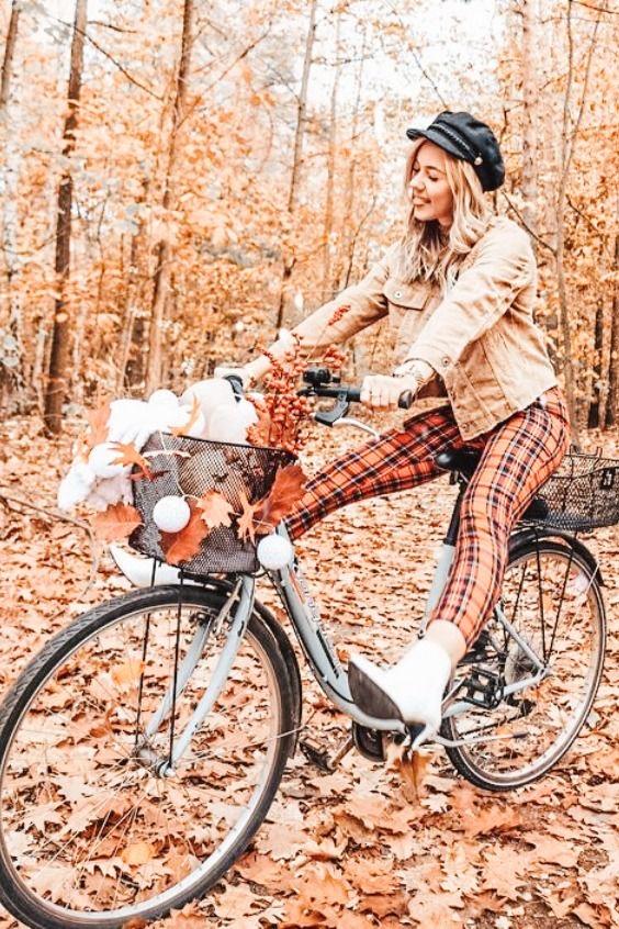 Фото на велосипеде осенью