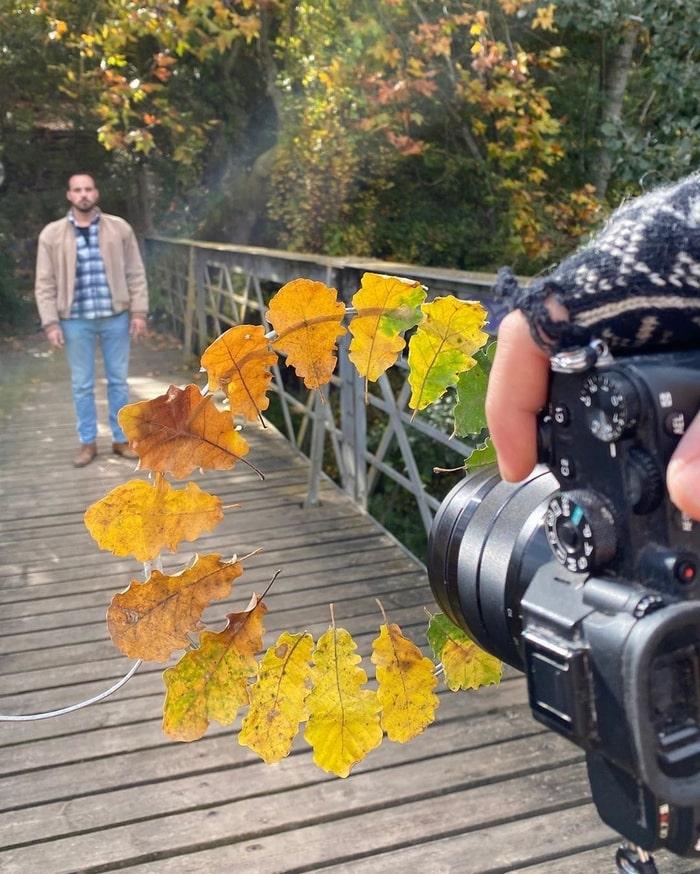 идея для фото с осенними листьями