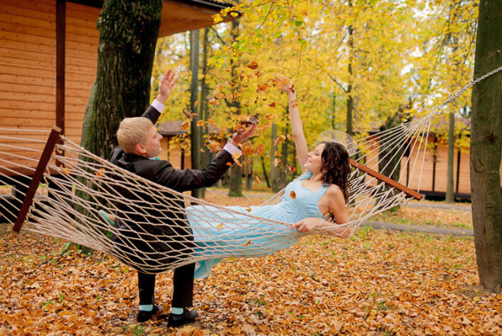 свадебные фото осенью