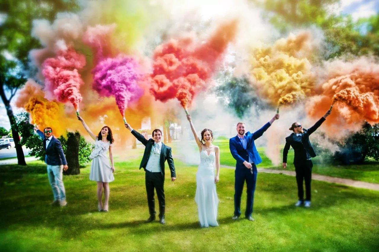 Идея свадебного фото с дымом