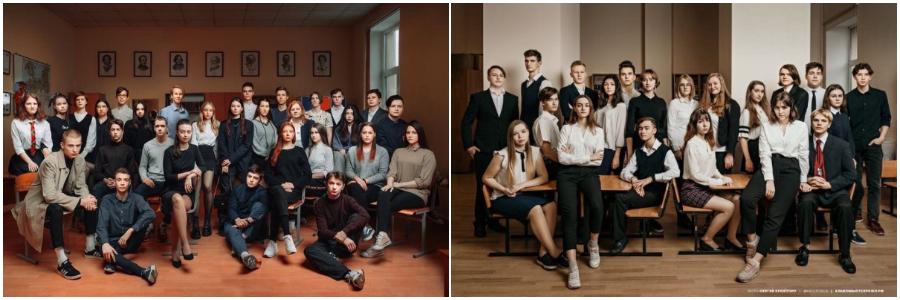 групповое фото всем классом для выпускного фотоальбома