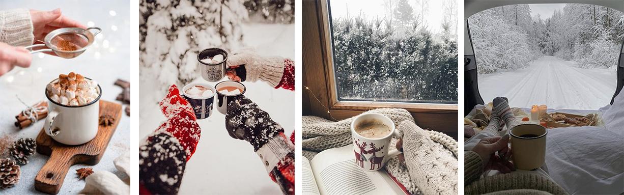 зимняя фотография с кружкой для инстаграм