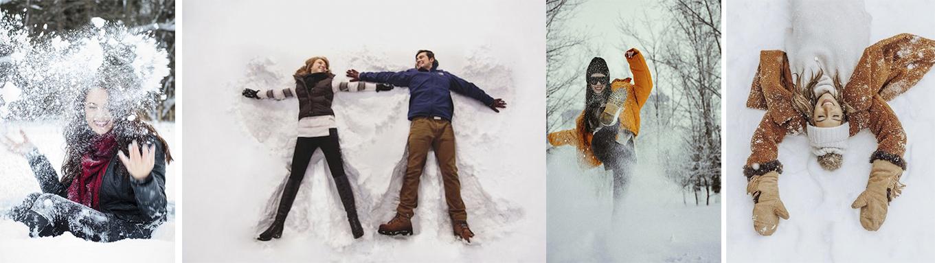 как креативно сфотографироваться на снегу