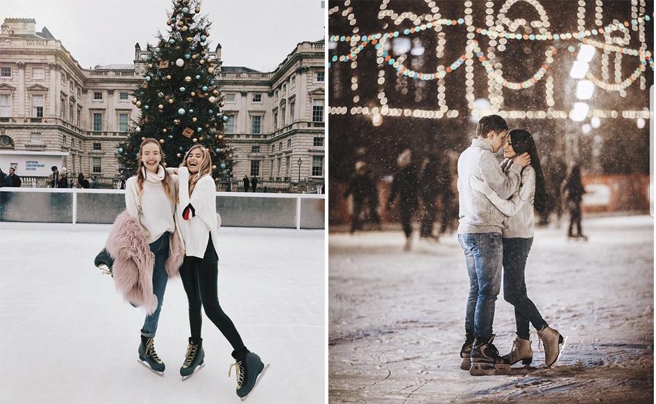 как сделать классные зимние снимки в городе на катке