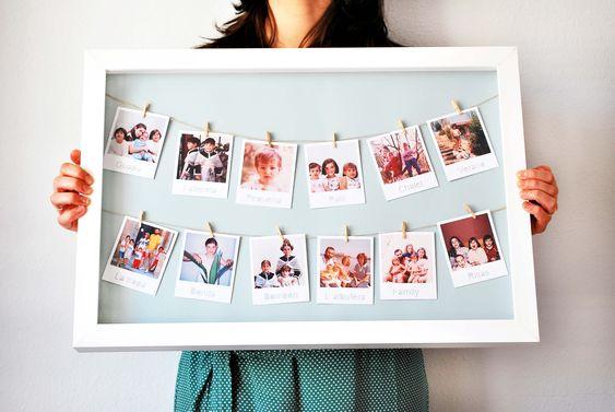 рамка для фотографий на прищепках
