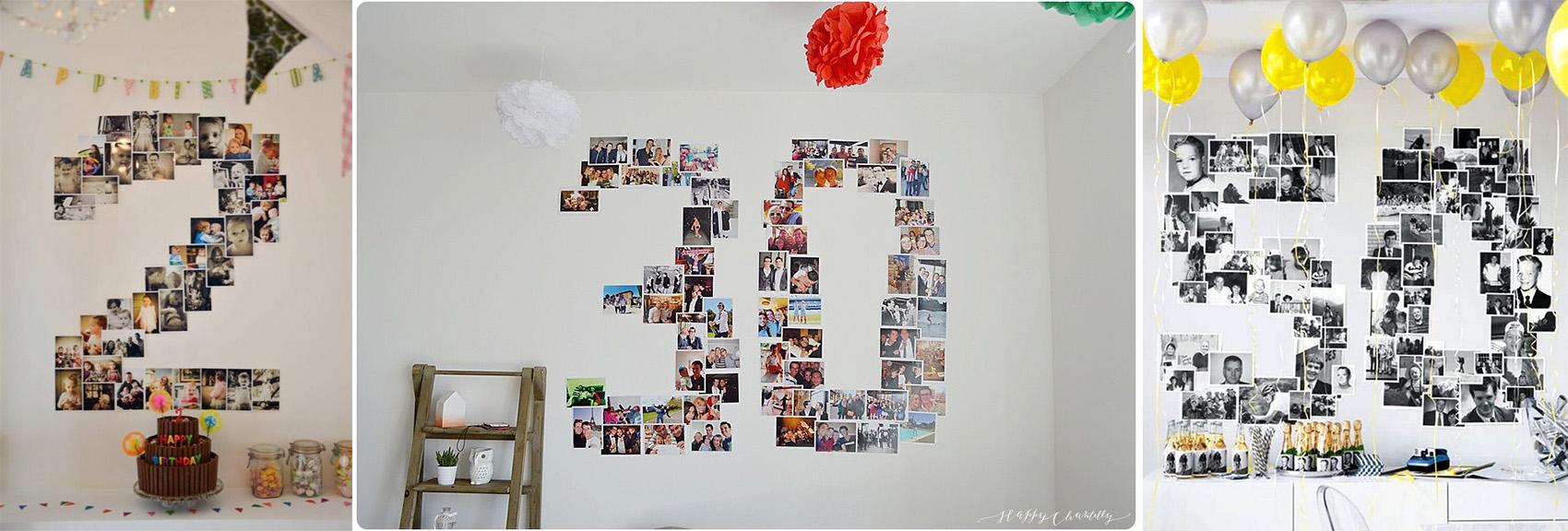 как необычно поздравить именинника с помощью фотоколлажа на стене
