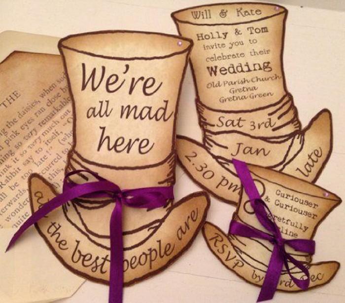 шаблоны приглашений на свадьбу алиса в стране чудес