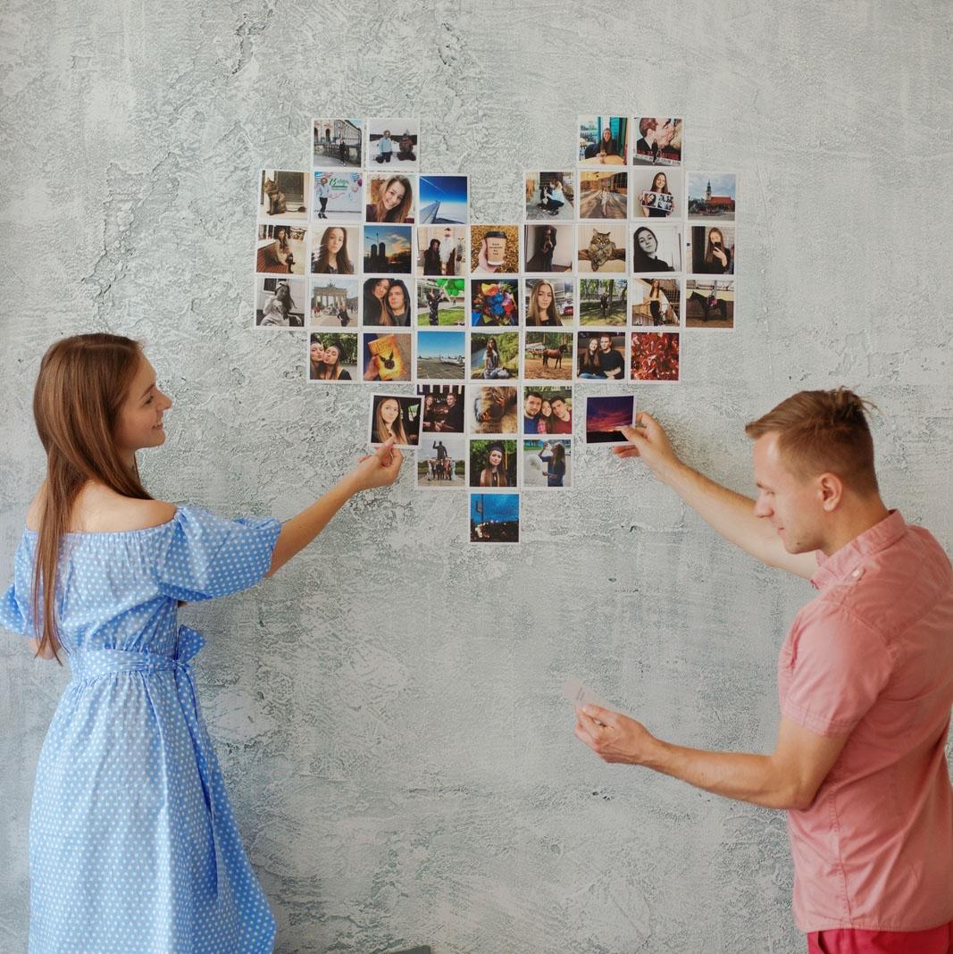 Коллаж сердце из фотографий на стену
